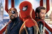 Un primo piano di Peter Parker, Mysterio e Nick Fury nel poster di Far From Home