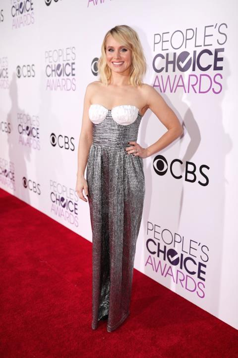 Kristen Bell in jumpsuit silver firmata Rosario