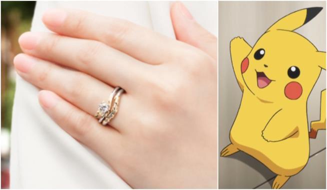 L'anello di Pikachu in uin collage con Pikachu