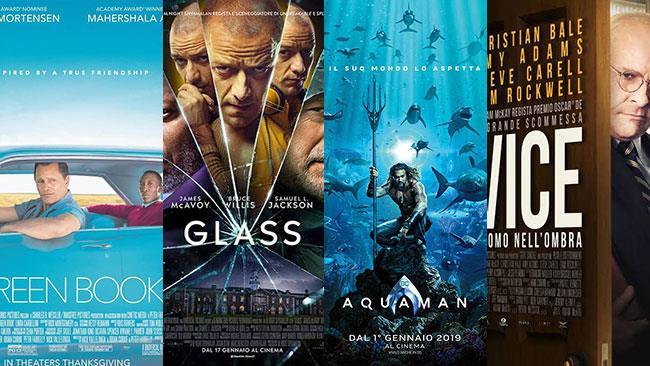 I poster dei film Green Book, Glass, Aquaman, Vice - L'uomo nell'ombra