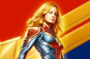 Un primo piano di Captain Marvel nel poster ufficiale del film
