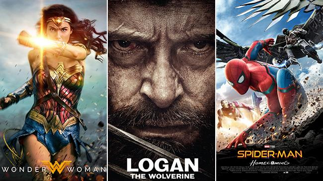 I poster di Wonder Woman, Logan - The Wolverine, Spider-Man: Homecoming