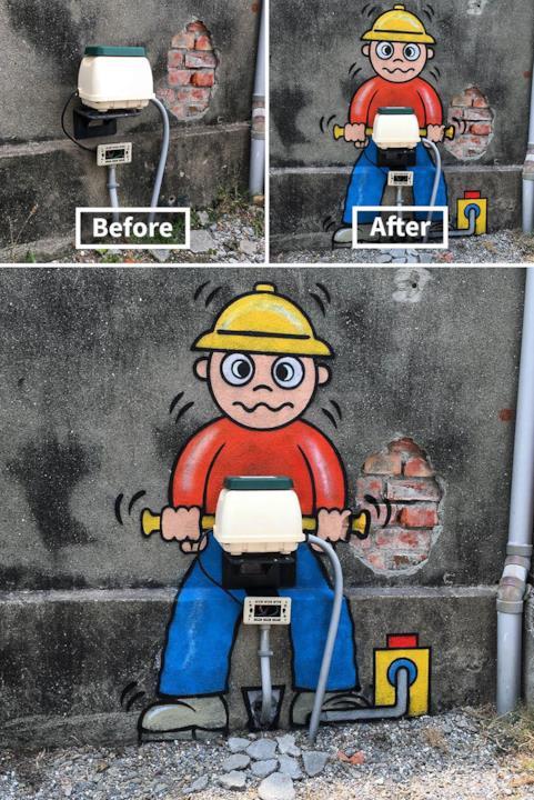 Le creazioni di Tom Bob: da cabina elettrica a operario con trapano