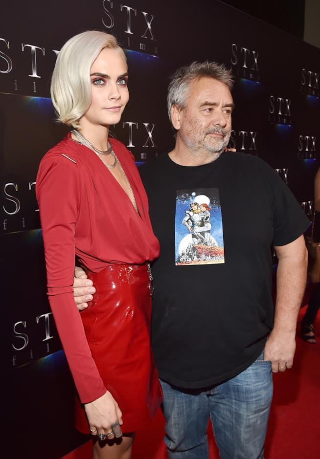 Cara Delevingne e Luc Besson in primo piano