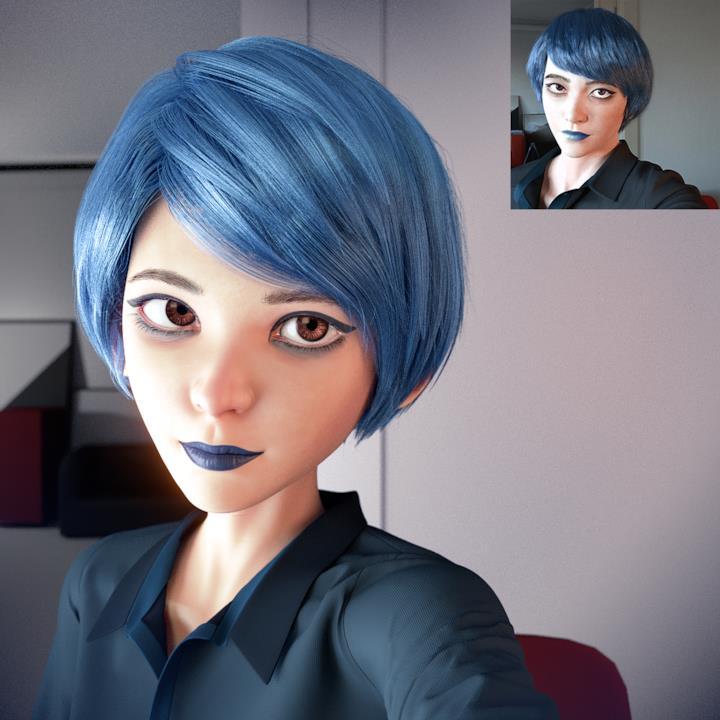 Una ragazza in primo piano con capelli e rossetto blu