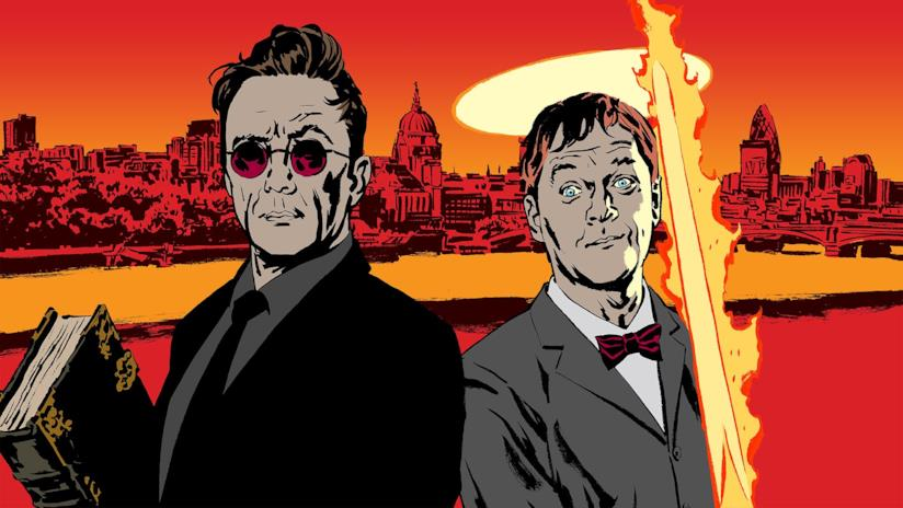 I protagonisti di Good Omens in una celebre illustrazione