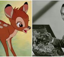 Un collage di Bambi e il suo creatore Tyrus Wong