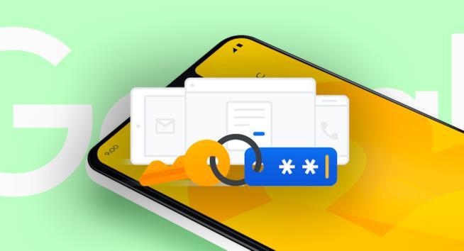 """Icona della """"chiave di sicurezza"""" per i servizi Google e Pixel 3 XL sullo sfondo"""