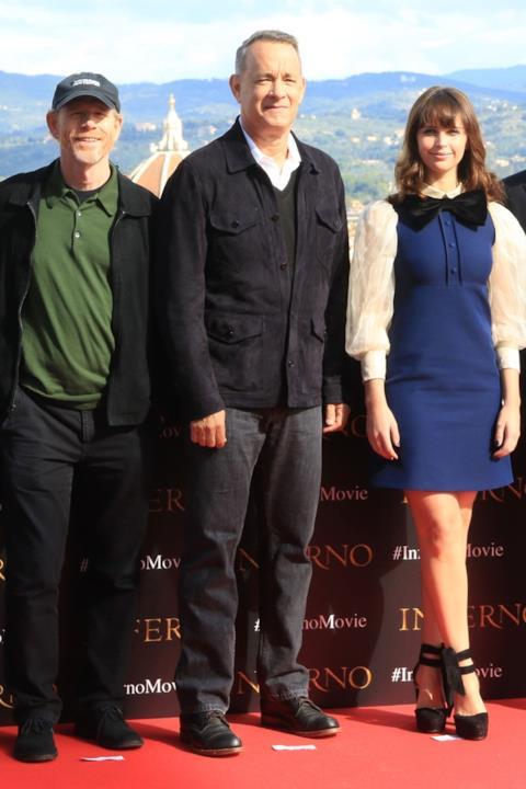Felicity Jones, Ron Howard e Tom Hanks a Firenze