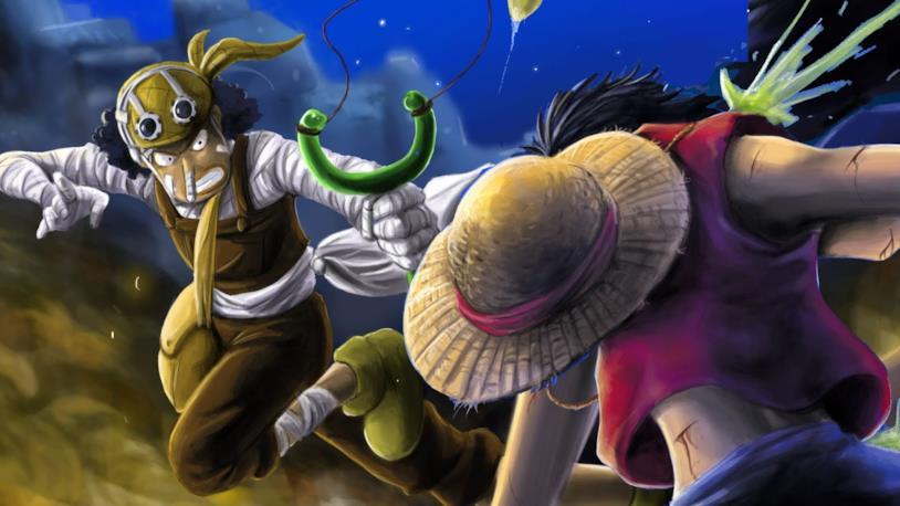 One Piece Rufy e Usopp combattono per la Going Merry