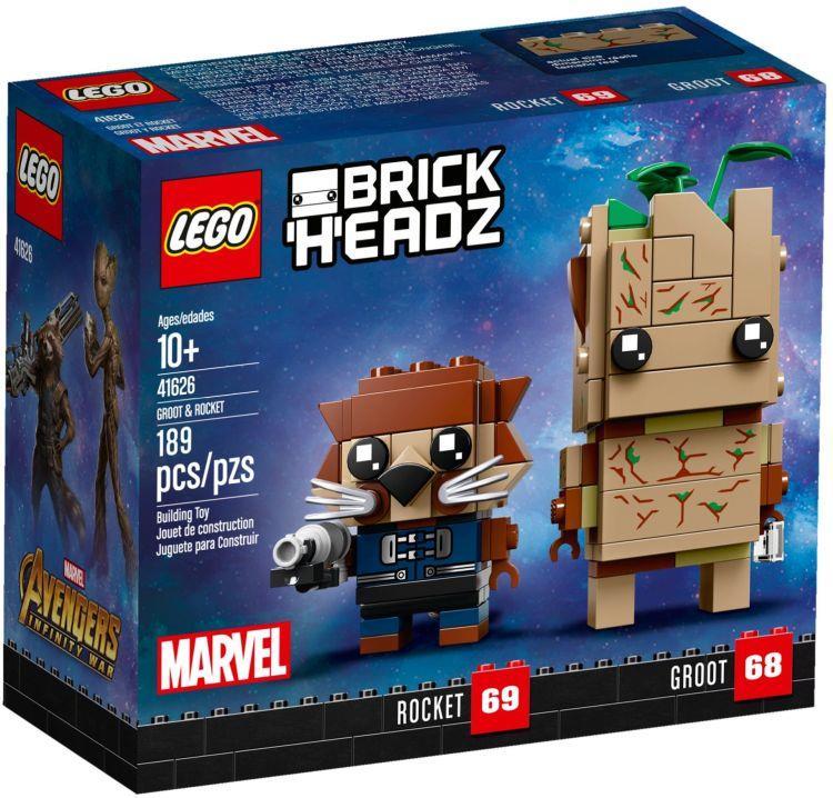 Dettagli del box del set LEGO BrickHeadz: Groot e Rocket Raccoon