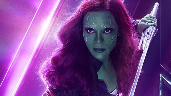 Zoe Saldana nel ruolo di Gamora in Avengers: Infinity War