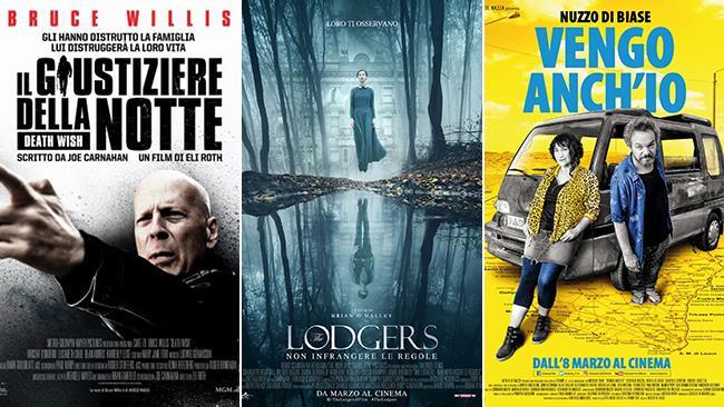 I poster dei film Il giustiziere della notte, The Lodgers - Non infrangere le regole, Vengo anch'io