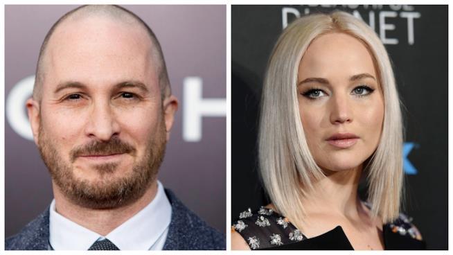 Primo piano di Darren Aronofsky e Jennifer Lawrence