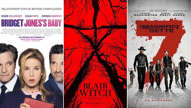 Le locandine dei film Bridget Jones's Baby, Blair Witch, I Magnifici Sette