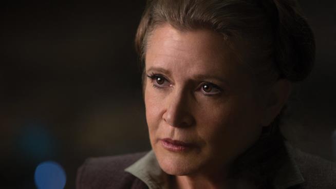 Carrie Fisher in una scena di Star Wars: Il risveglio della Forza