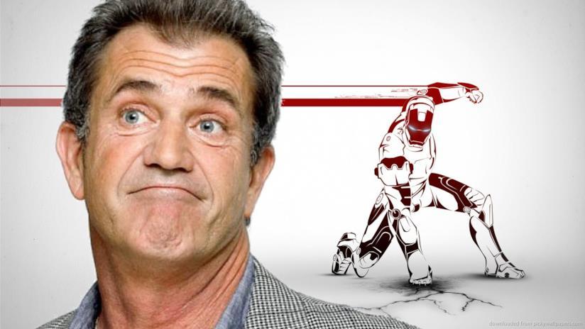Mel Gibson e un disegno raffigurante Iron Man