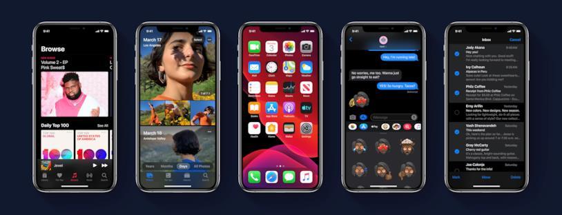 Immagine stampa della Dark Mode di iOS 13