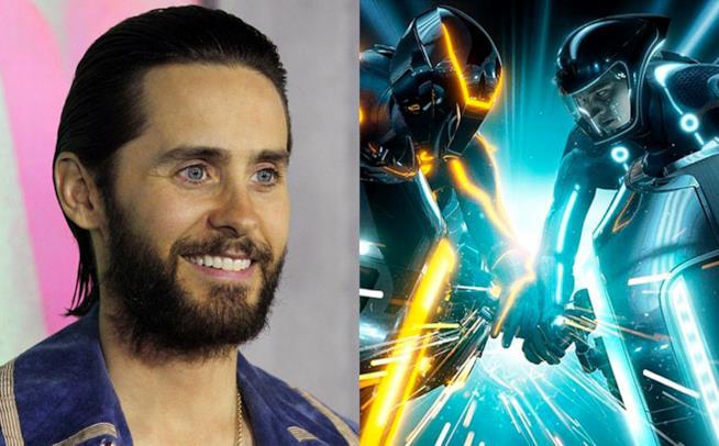 Jared Leto (sinistra), una scena tratta dal film Tron: Legacy (destra)