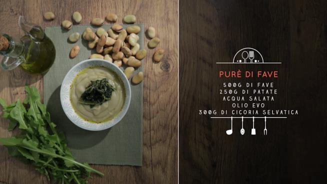 La ricetta del purè di fave con cicoria saltata