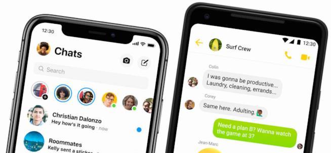 Immagine stampa con Messenger in esecuzione su iOS e Android
