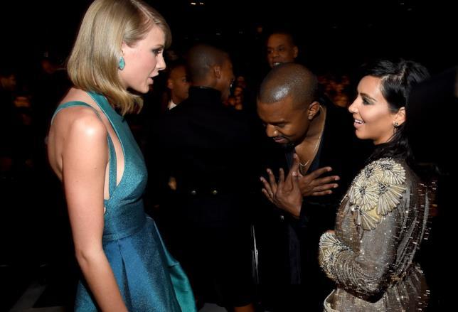 Foto di Kim Kardashian, Kanye West e Taylor Swift