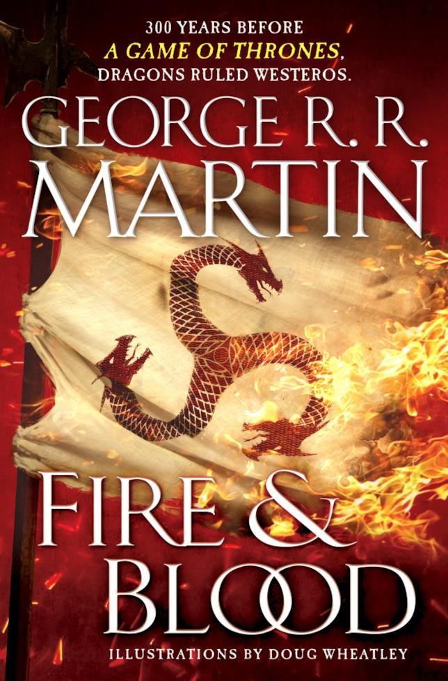 La copertina USA di Fire & Blood con un drago rosso al centro avvolto dalle fiamme
