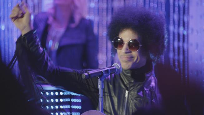 Primo piano di Prince in concerto