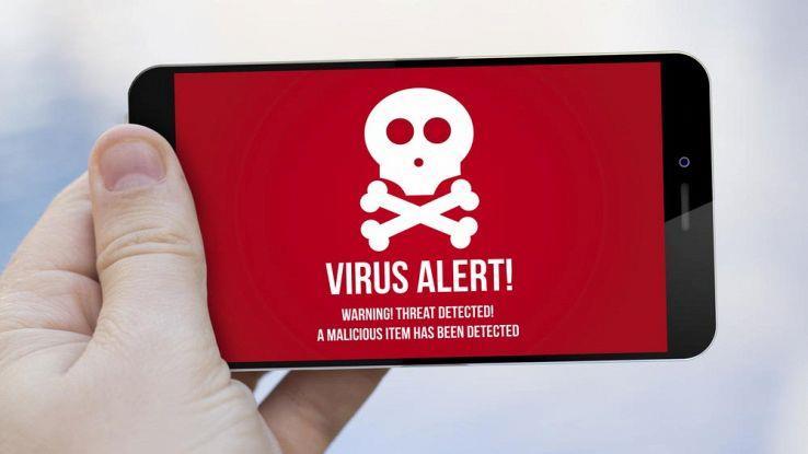 Messaggio di minaccia rilevata su smartphone