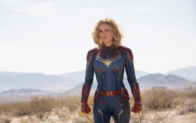 Brie Larson nel ruolo di Carol Danvers in Captain Marvel