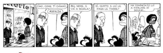 Una delle strisce di Mafalda esposte alla mostra