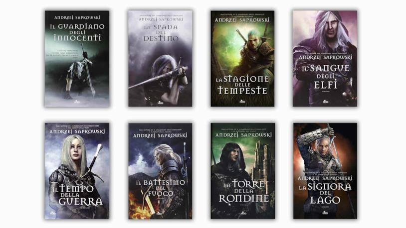 Le copertine dei diversi volumi di The Witcher di Andrzej Sapkowski in Italia