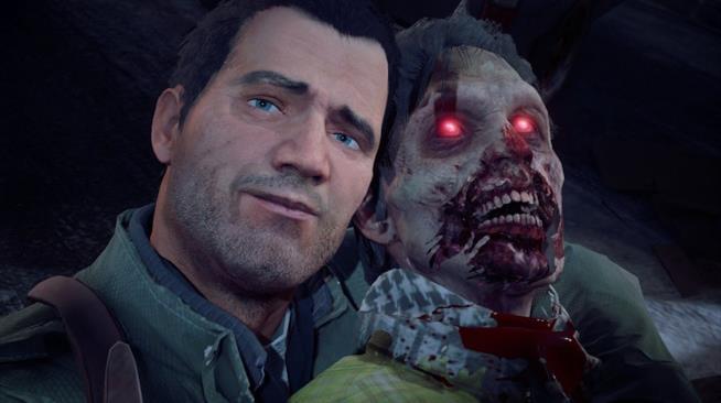 Frank West posa con uno zombie in Dead Rising 4