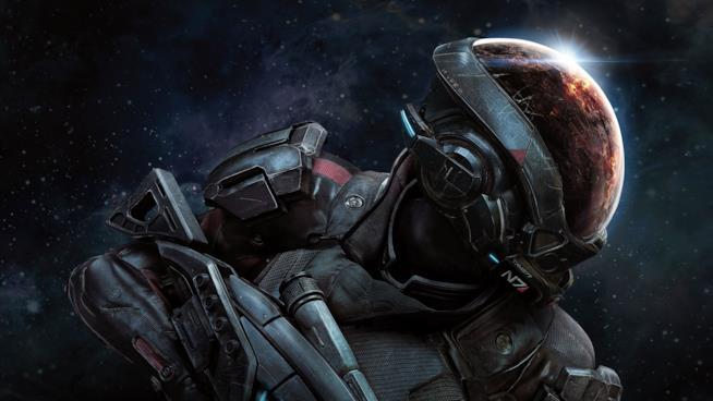 Primo piano del protagonista di Mass Effect: Andromeda sulla cover ufficiale del videogioco