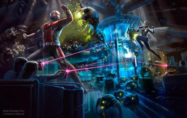 Un'immagine promozionale dell'attrazione di prossima apertura con Ant-Man e Wasp a Disneyland di Hong Kong