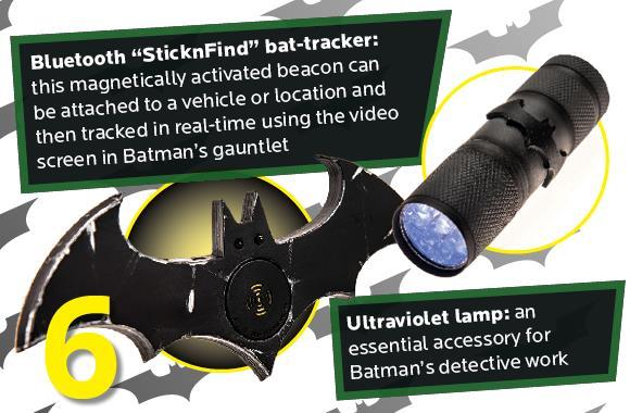 Il bat-tracciante e la lampada ultravioletti della tuta