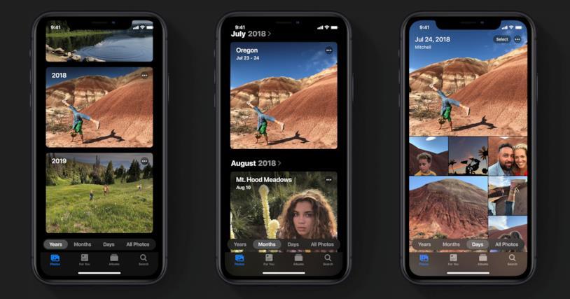 Immagine stampa della rinnovata app Foto di iOS 13