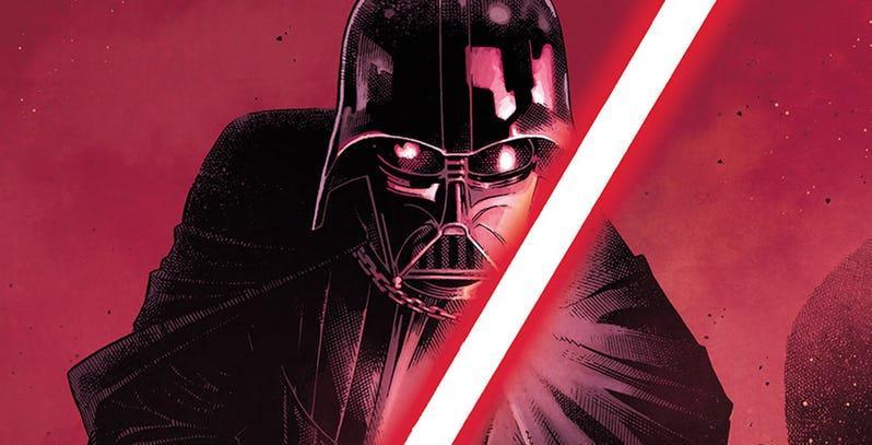 Darth Vader con la sua spada laser rossa nel disegno a fumetti