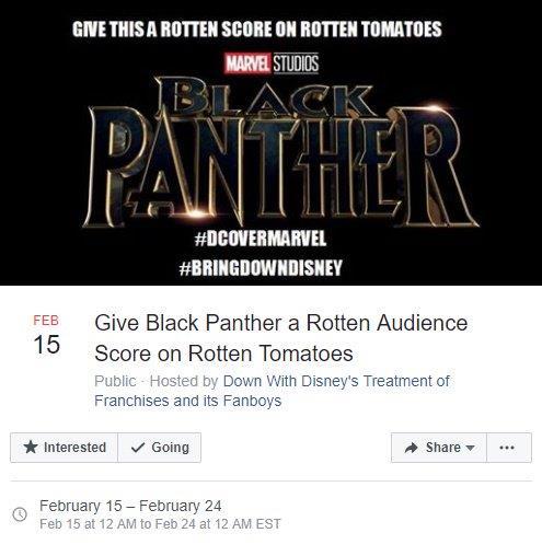 L'immagine del delirante post che suggeriva di sabotare lo score di Black Panther