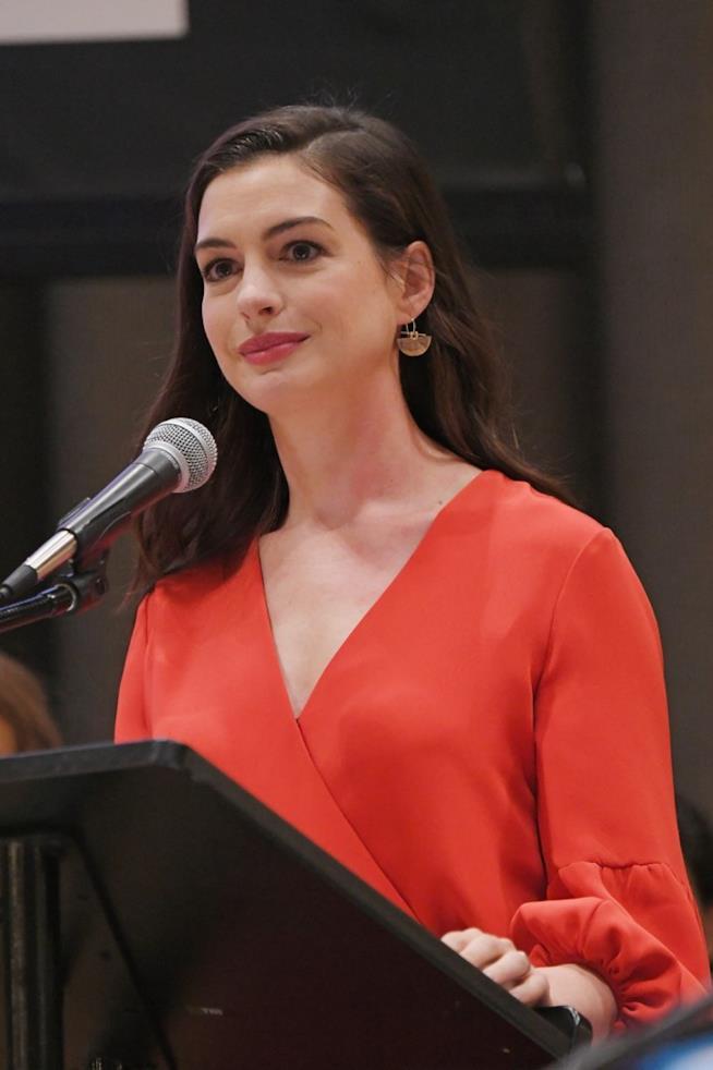 Anne Hathaway durante il discorso alle Nazioni Unite