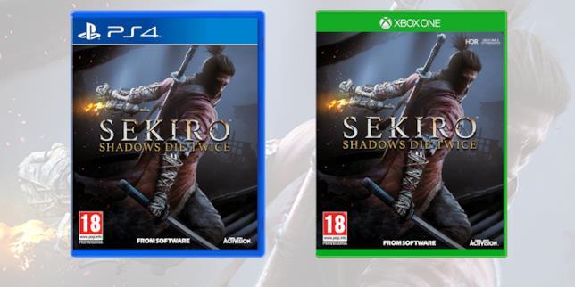 La boxart di Sekiro su PS4 e Xbox One