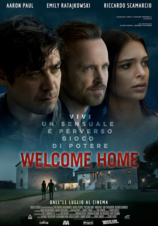 Il poster del film Welcome Home con Emily Ratajkowski, Aaron Paul e Riccardo Scamarcio