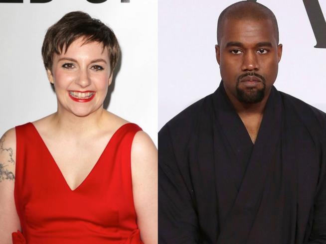 Primo piano di Lena Dunham e Kanye West
