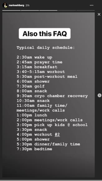 Ecco il programma di allenamento e attività di Wahlberg