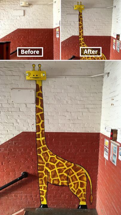 Le creazioni di Tom Bob: Gli obiettivi delle telecamere di sicurezza diventano gli occhi di una giraffa
