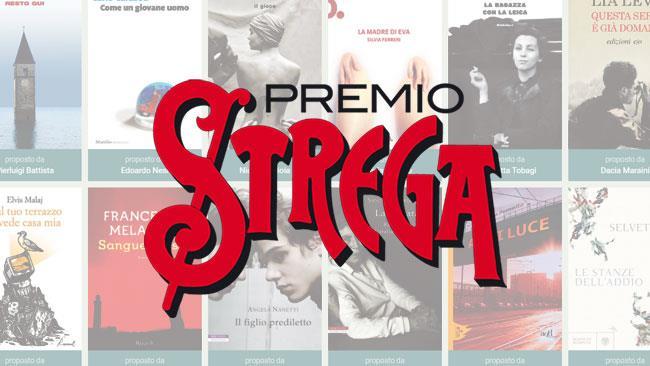 Il logo del premio Strega con i concorrenti 2018