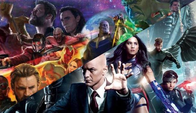 Collage di due poster promozionali di Infinity War e X-Men