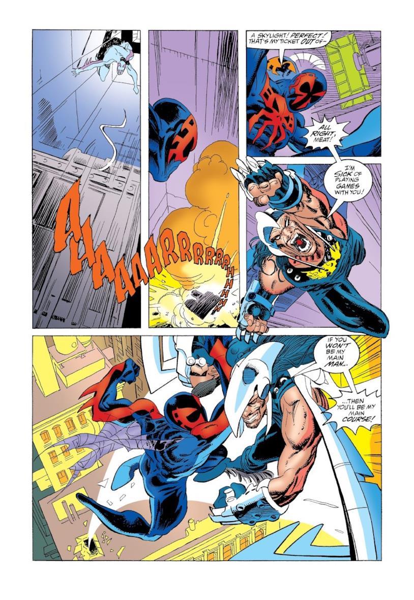 Spider-Man del futuro contro l'Avvoltoio del 2099