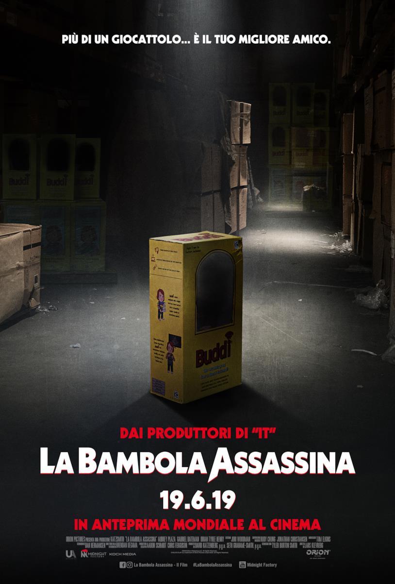 Il poster italiano di La Bambola Assassina con la scatola di Buddi