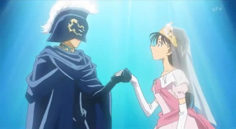 Shinichi mascherato da cavaliere in occasione della recita